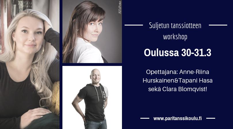 Suljetun tanssiotteen workshop Oulussa 30-31.3.2019!